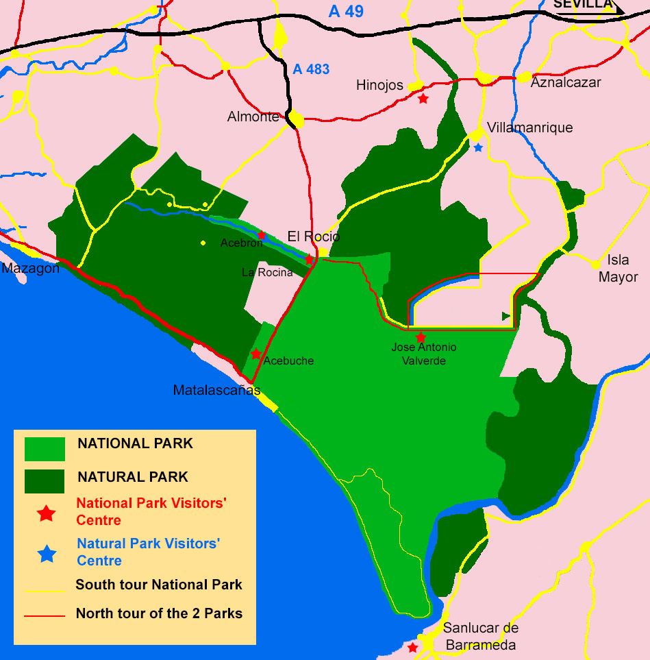 Map showing the Doñana National and Natural Parks