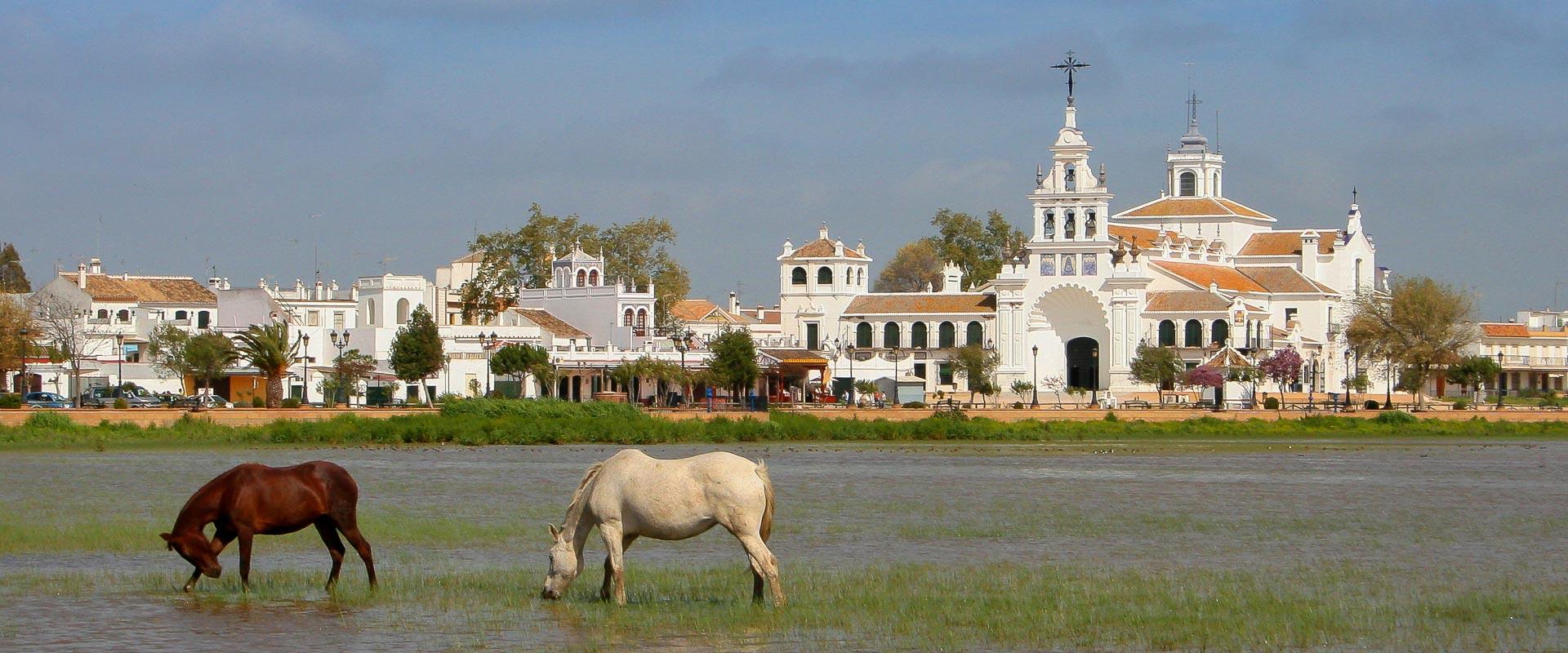 vista de la Ermita de El Rocío con dos caballos en la marisma