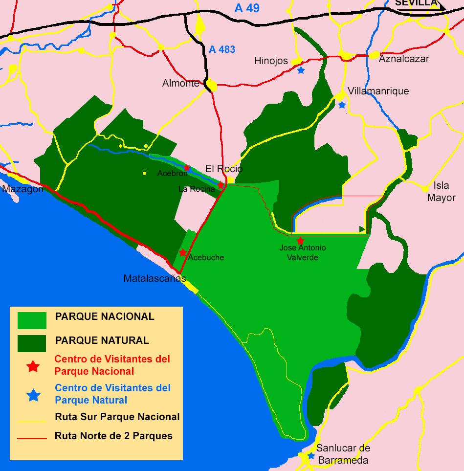 Mapa mostrando el Parque Nacional y el Parque Natural de Doñana