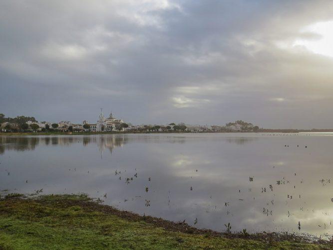 El Rocio Marshes under a cloudy sky