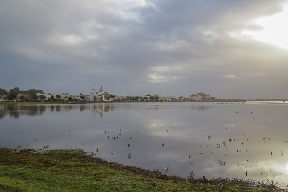 El Rocio Marshes under a cloudy sky